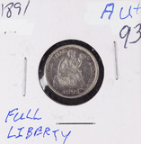 1891 - SEATED LIBERTY DIME - AU