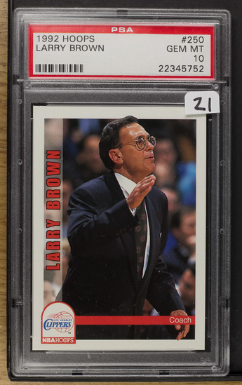Larry Brown 1992 Hoops #250 PSA-Gem MT10