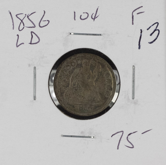 1856 - LARGE DATE - LIBERTY SEATED DIME - F