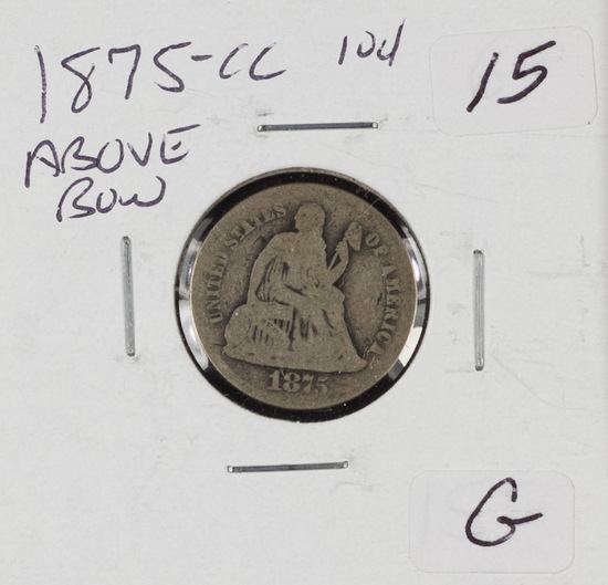 1875-CC ABOVE BOW LIBERTY SEATED DIME - VG