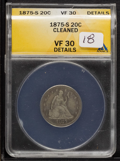 1875-S ANACS VF-30 DETAILS LIBERTY SEATED TWENTY CENT PIECE