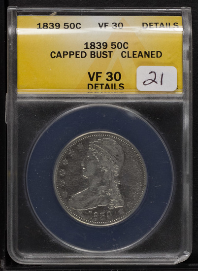 1839 ANACS VF 30 DETAILS CAPPED BUST HALF DOLLAR