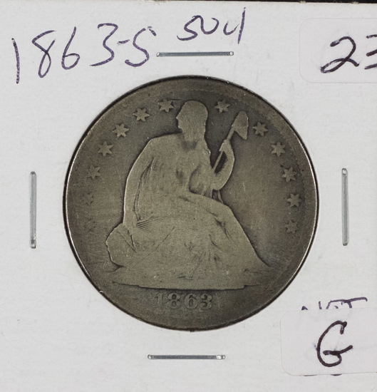 1863-S LIBERTY SEATED HALF DOLLAR - G