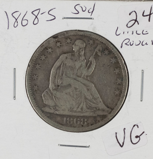 1868-S LIBERTY SEATED HALF DOLLAR - VG