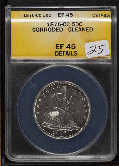 1876-CC ANACS EF -45 DETAILS LIBERTY SEATED HALF DOLLAR