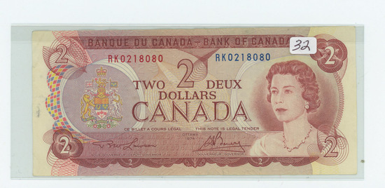 SERIES OF 1974 - CANADIAN #2.00 BILL - XF+