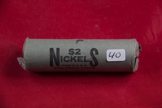 1 - ROLL (40 COINS) - WWII SILVER NICKELS