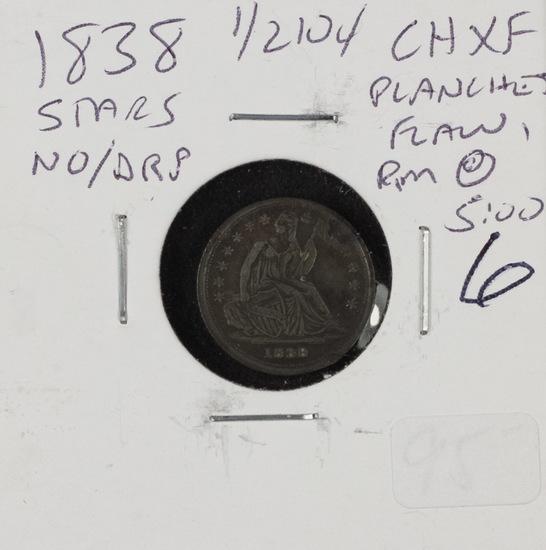 1838 - STARS/NO DRAPERY LIBERTY SEATED HALF DIME - XF