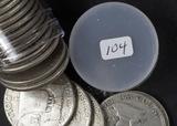 1 - ROLL (20 COINS) 1951 FRANKLIN HALF DOLLARS