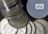 1 - ROLL (20 COINS) 1954 FRANKLIN HALF DOLLARS