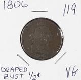 1806 - DRAPED BUST HALF CENT - VG