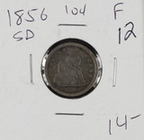 1856 - SMALL DATE LIBERTY SEATED DIME - F