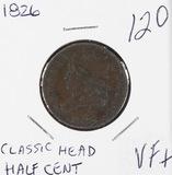1826 - CLASSIC HEAD HALF CENT - VF+