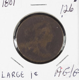 1801 - DRAPED BUST LARGE CENT - AG/G