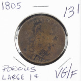 1805 - DRAPED BUST LARGE CENT - VG/F POROUS
