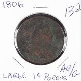 1806 - DRAPED BUST LARGE CENT - AG/G POROUS