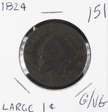 1824 - MATRON HEAD LARGE CENT - G/VG