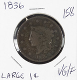 1836 - MATRON HEAD MODIFIED LARGE CENT - VG/F