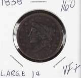 1838 - MATRON HEAD MODIFIED LARGE CENT - VF+