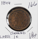 1844 - BRAIDED HAIR LARGE CENT - VG+ CLEANED