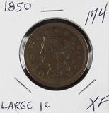 1850 - BRAIDED HAIR LARGE CENT - XF
