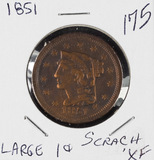 1851 - BRAIDED HAIR LARGE CENT - XF SCRATCHED