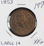 1853 - BRAIDED HAIR LARGE CENT - XF+