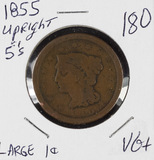 1855 UPRIGHT 5'S  - BRAIDED HAIR LARGE CENT - VG+