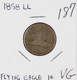 1858 LARGE LETTERS FLYING EAGLE CENT - VG
