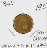 1865 - INDIAN HEAD CENT - RD/BRN UNC