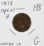 1873 OPEN 3 - INDIAN HEAD CENT - G