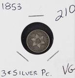1853 - THREE CENT SILVER PIECE - VG