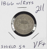 1866 WITH RAYS SHIELD NICKEL - VF+