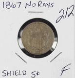 1867 - NO RAYS SHIELD NICKEL - F