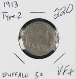 1913 TYPE 2 - BUFFALO NICKEL - VF+