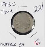 1913-S TYPE I - BUFFALO NICKEL - G