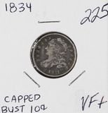 1834 - CAPPED BUST DIME - VF+