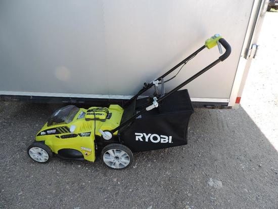 Ryobi 40volt lithium battery powered lawn mower with charger in excellent condition (tested