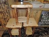 4 aspen log furniture end tables.