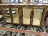 Beautiful 2 piece aspen wood display case in excellent condition.
