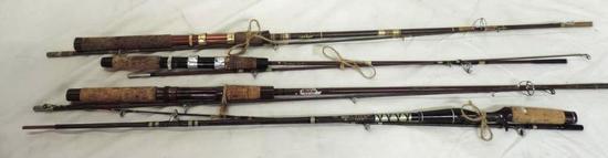 3 vintage Abu Garcia Conolon rods and Abu Garcia King fisher rod.