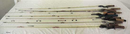 11 4-6' one piece vintage fishing rods from Hawthorn True-Temper and more.