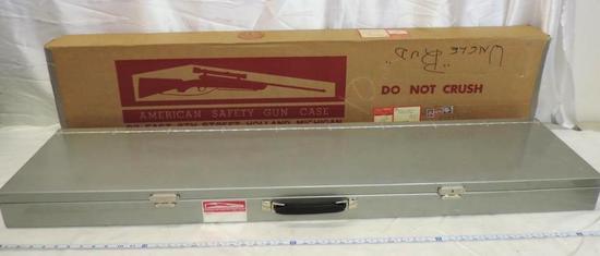 "52x11x3.5"" vintage American safety metal gun case with original box."