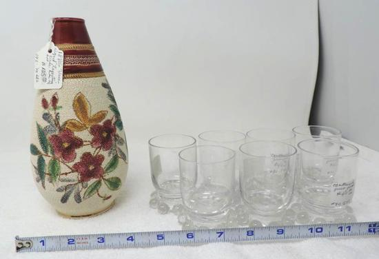 "7 three inch candlewick juice glasses and 8"" circa 1900 Tapestry vase in good condition."