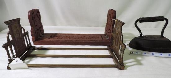Antique latin brass sliding book end set, Carved wooden sliding book end set and iron.