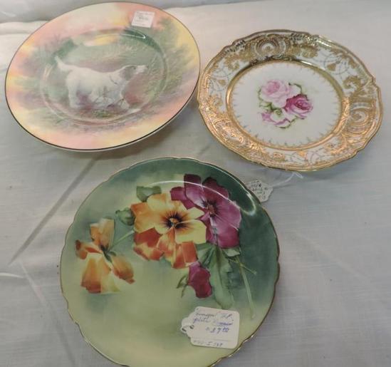Royal Daulton, Nippon and Limoge hand painted plates lot.