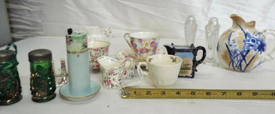 """5"""" Royal Daulton pitcher, cut glass salt and pepper, pen holder and more."""