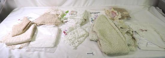 Large lot of lace tableclothes and embroidery.