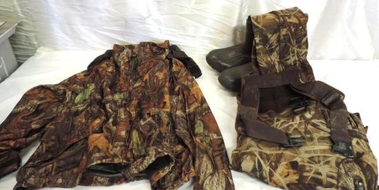 Cabela's XXL advantage timber camo jacket in good condition and Ducks unlimited XXL waders.