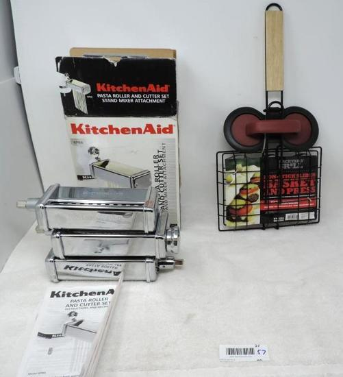 Kitchenaide pasta roller and cutter set for kitchenaide mixers and new slider basket and press.